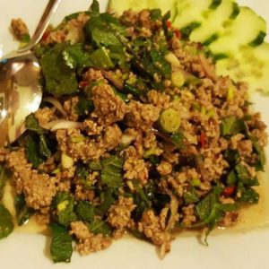 Fine chopped meatsalad with thai herbs (Hot and Sour)