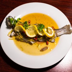 Steamed whole fish with lemon
