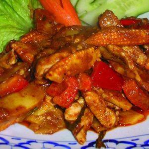 Sült vörös curry chilivel